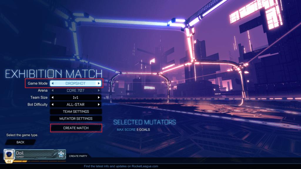 Game Modeより好きなモードを選択して、CREATE MATCHを押す