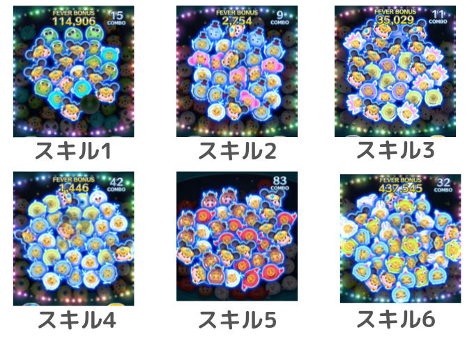 スキル1から6までの威力を比較(盾)